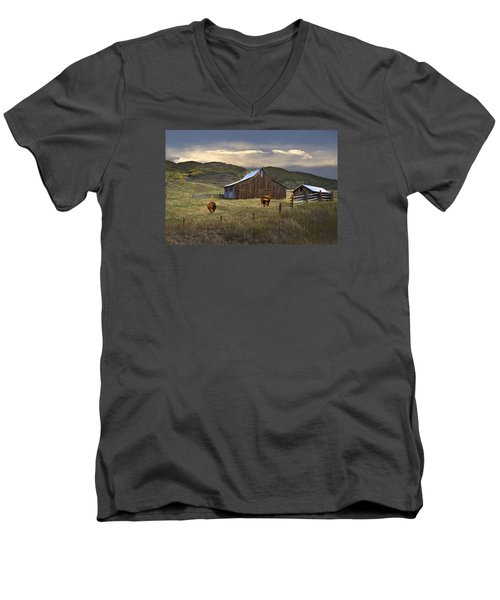 Men's V-Neck T-Shirt featuring the photograph Longhorns On The Road To Steamboat Lake by John Hix
