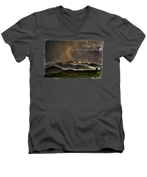 Long's Peak In Haze Men's V-Neck T-Shirt