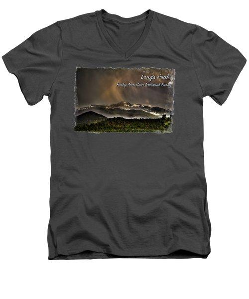 Long's Peak In Haze Men's V-Neck T-Shirt