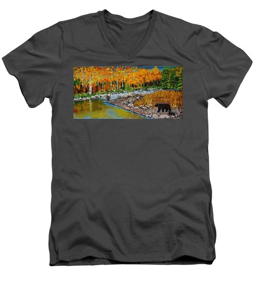 Look Around Joe Men's V-Neck T-Shirt by Mike Caitham