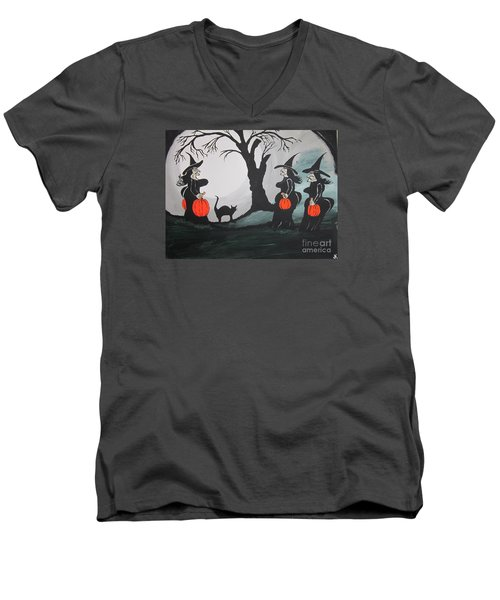 Men's V-Neck T-Shirt featuring the painting Look At The Size Of Her Pumpkins by Jeffrey Koss