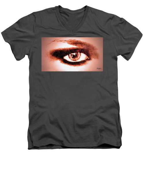 Men's V-Neck T-Shirt featuring the digital art Look Into My Eye by Paula Ayers