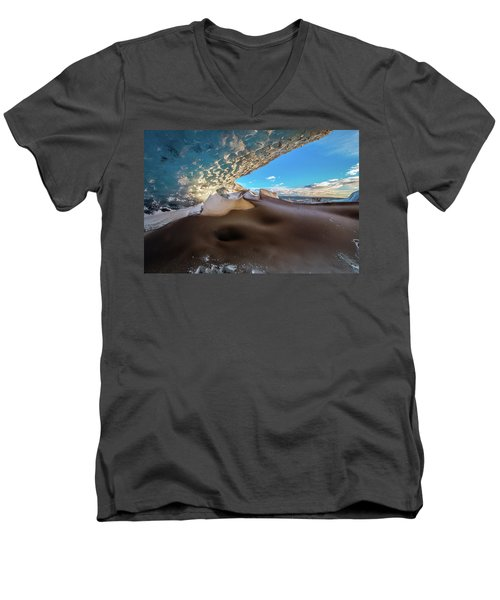 Men's V-Neck T-Shirt featuring the photograph Look Out From Glacier Cave by Allen Biedrzycki