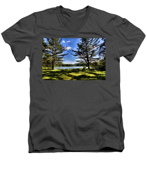 Looking At The Moose River Men's V-Neck T-Shirt by David Patterson