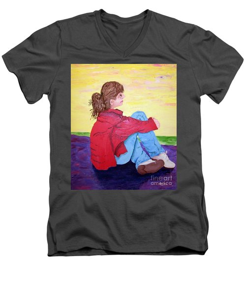 Looking For Hope Men's V-Neck T-Shirt by Lisa Rose Musselwhite