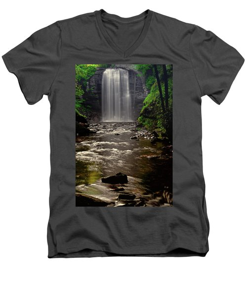 Men's V-Neck T-Shirt featuring the photograph Looking Glass Falls 009 by George Bostian