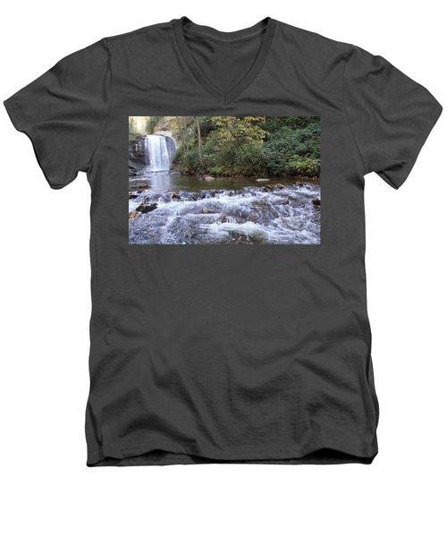 Looking Glass Falls Downstream Men's V-Neck T-Shirt