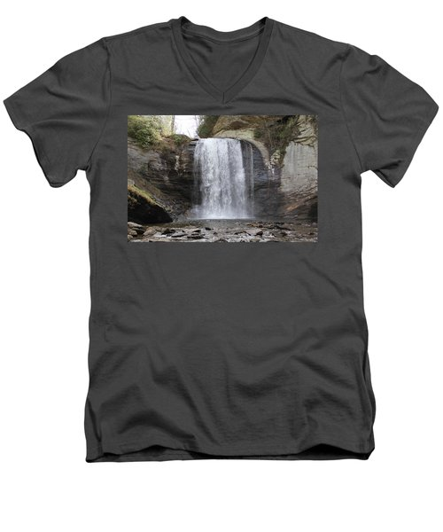 Looking Glass Falls Front View Men's V-Neck T-Shirt
