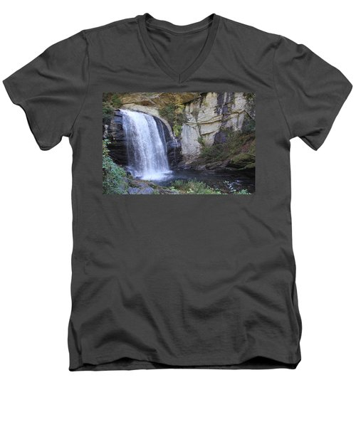 Looking Glass Falls Side View Men's V-Neck T-Shirt