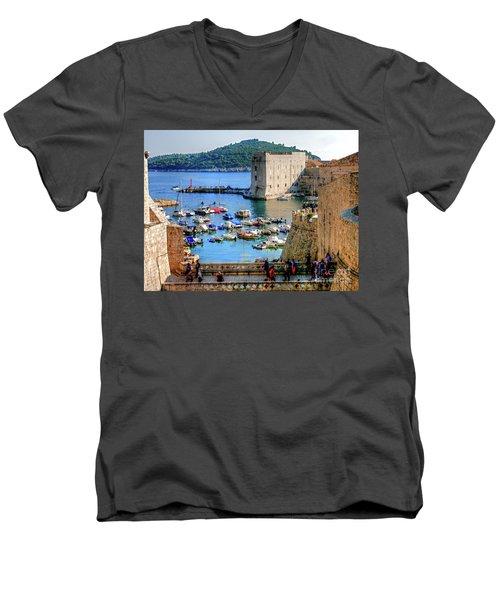 Looking Out Onto Dubrovnik Harbour Men's V-Neck T-Shirt
