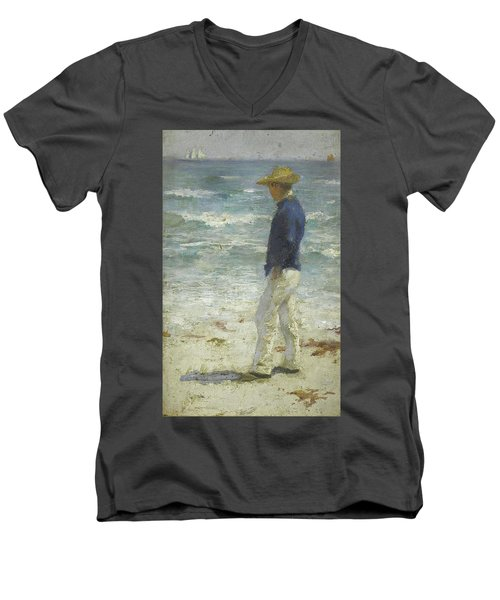 Men's V-Neck T-Shirt featuring the painting Looking Out To Sea by Henry Scott Tuke