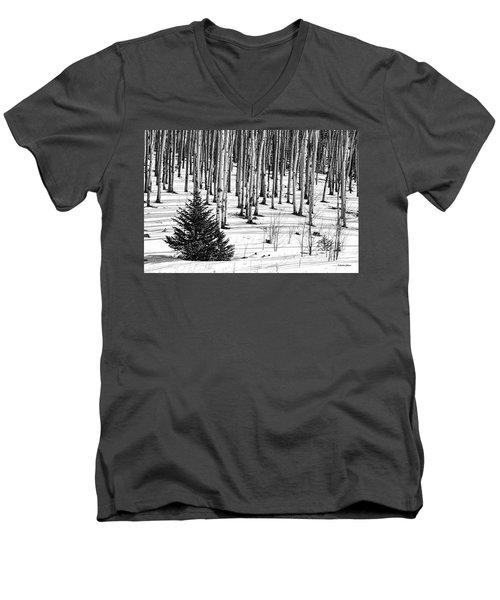 Looking Through The Aspen Black And White Men's V-Neck T-Shirt