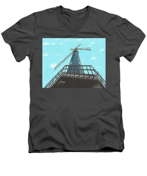Looking Up At A Windmill Men's V-Neck T-Shirt