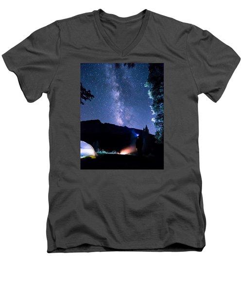 Looking Up At Milky Way Men's V-Neck T-Shirt