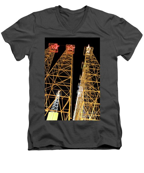 Looking Up At The Kilgore Lighted Derricks Men's V-Neck T-Shirt by Kathy  White