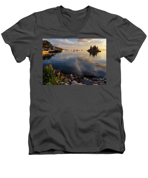 Lookout Point, Harpswell, Maine  -99044-990477 Men's V-Neck T-Shirt by John Bald