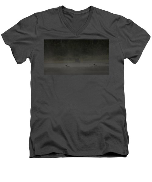 Loon And Moose In The Mist Men's V-Neck T-Shirt