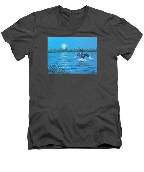 Loon Dance Men's V-Neck T-Shirt by Brenda Bonfield