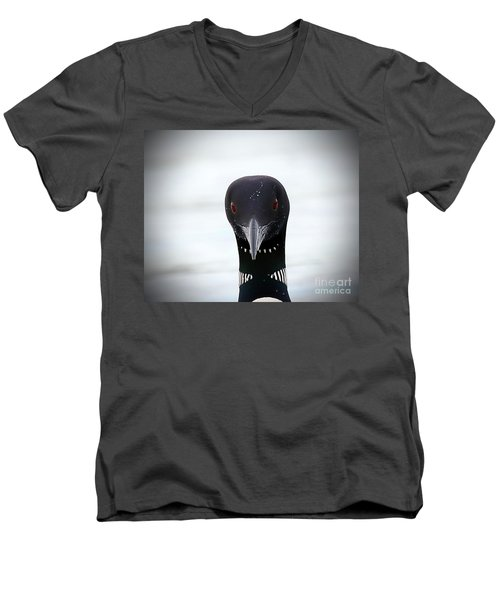 Loon Stare Men's V-Neck T-Shirt by Peter Gray