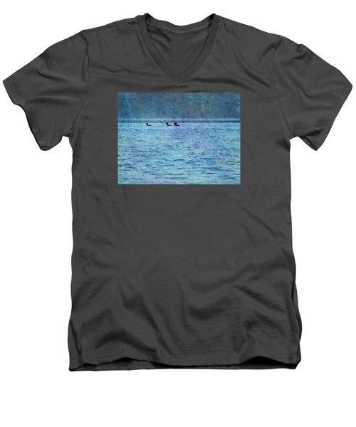 Loons On The Lake Men's V-Neck T-Shirt by Joy Nichols