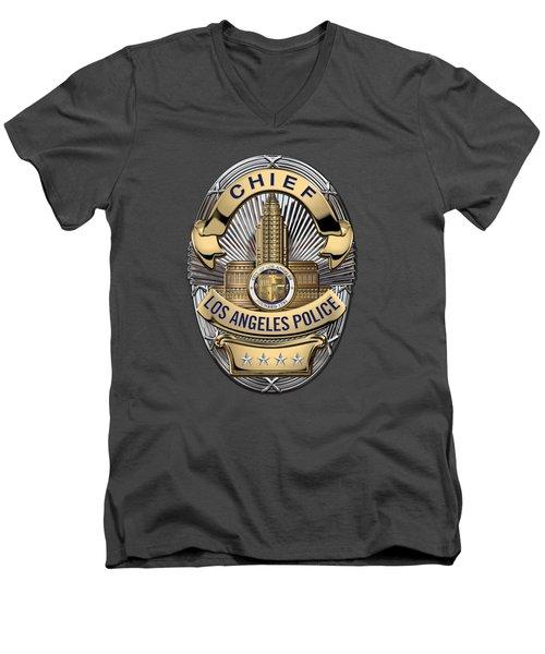 Los Angeles Police Department  -  L A P D  Chief Badge Over Blue Velvet Men's V-Neck T-Shirt by Serge Averbukh