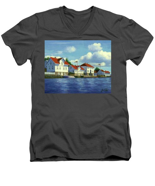 Men's V-Neck T-Shirt featuring the painting Loshavn Village Norway by Janet King