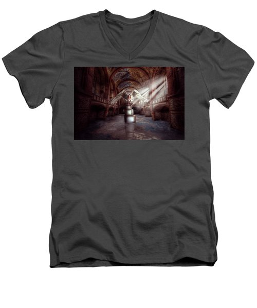 Men's V-Neck T-Shirt featuring the digital art Losing My Religion by Nathan Wright