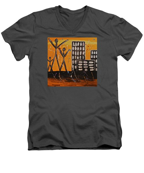Men's V-Neck T-Shirt featuring the painting Lost Cities 13-002 by Mario Perron