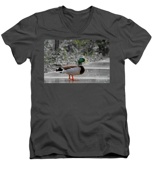 Men's V-Neck T-Shirt featuring the photograph Lost Duck by Mariola Bitner