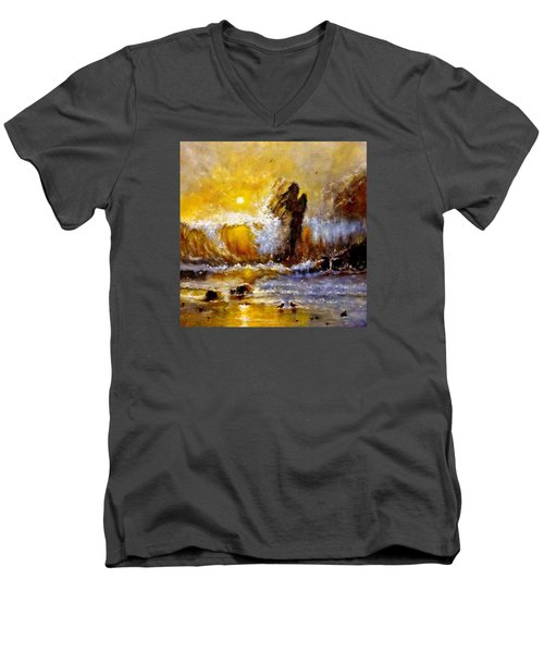 Men's V-Neck T-Shirt featuring the painting Lost In A Sunset.. by Cristina Mihailescu