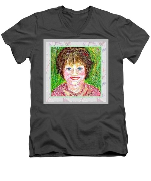Men's V-Neck T-Shirt featuring the pastel Lost In Childhood by Desline Vitto