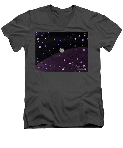 Men's V-Neck T-Shirt featuring the photograph Lost In Midnight Charcoal Stars by Rockin Docks Deluxephotos