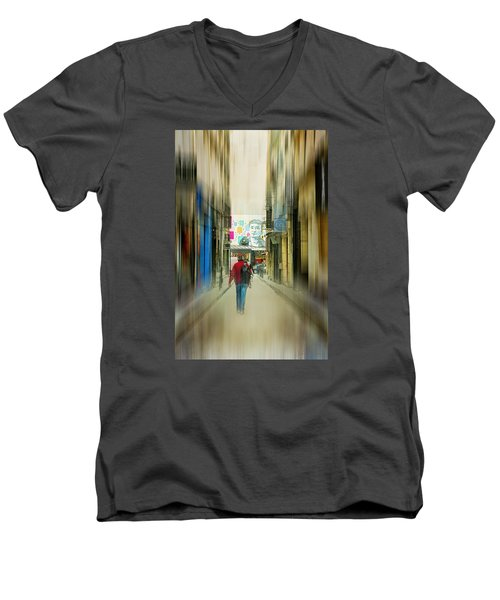 Lost In The Maze Of The City Men's V-Neck T-Shirt