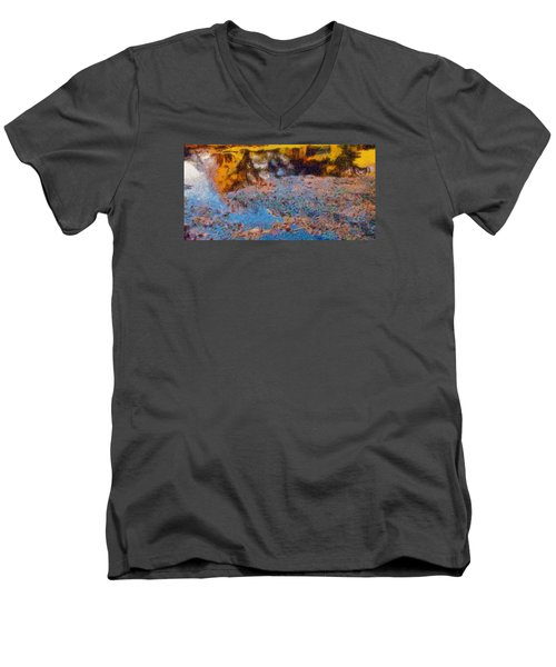 Men's V-Neck T-Shirt featuring the photograph Lost In The Pond by Spyder Webb