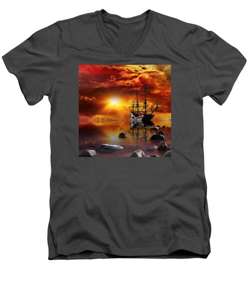 Lost In Time Men's V-Neck T-Shirt by Gabriella Weninger - David