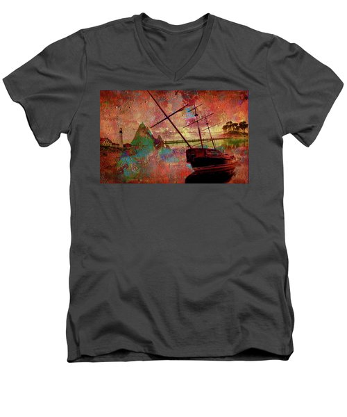 Men's V-Neck T-Shirt featuring the digital art Lost Island by Greg Sharpe