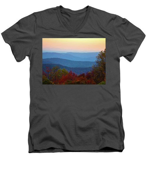 Men's V-Neck T-Shirt featuring the photograph Lost On The Blueridge by B Wayne Mullins