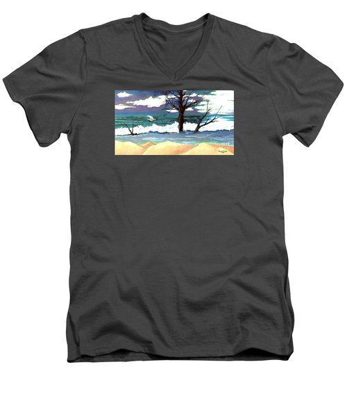 Men's V-Neck T-Shirt featuring the painting Lost Swan by Patricia Griffin Brett