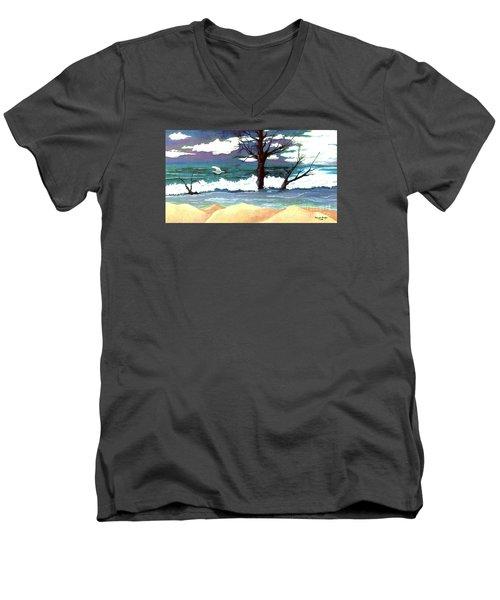Lost Swan Men's V-Neck T-Shirt by Patricia Griffin Brett