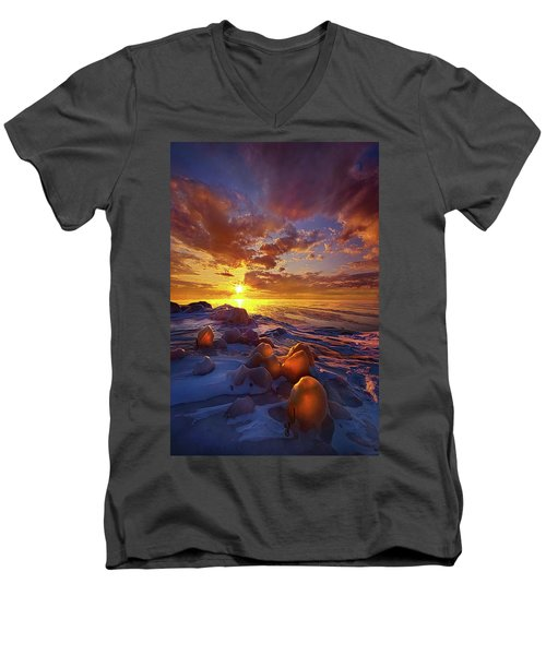 Men's V-Neck T-Shirt featuring the photograph Lost Titles, Forgotten Rhymes by Phil Koch