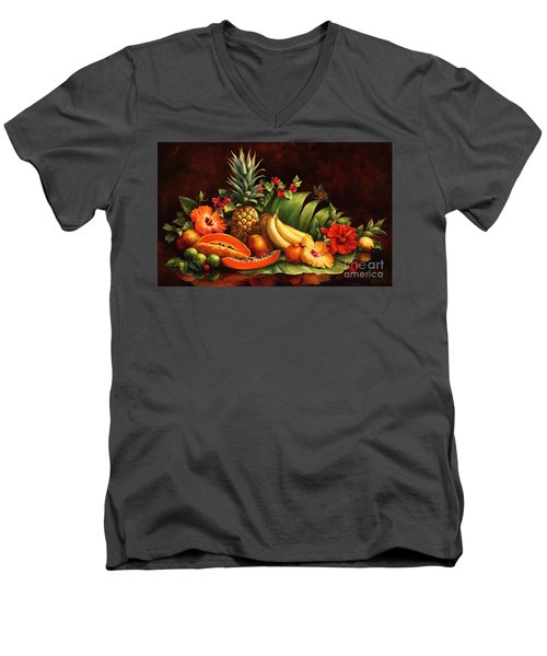 Lots Of Fruit Men's V-Neck T-Shirt by Laurie Hein
