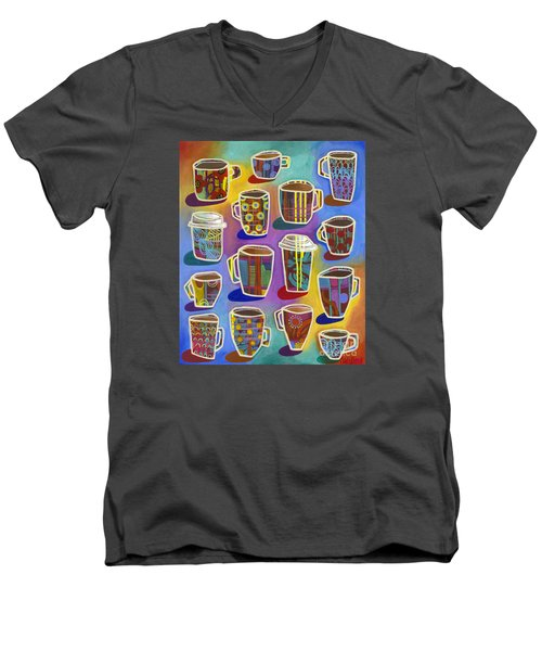 Men's V-Neck T-Shirt featuring the painting Lots Of Lattes by Carla Bank