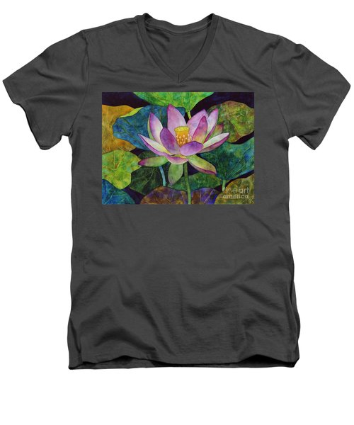 Lotus Bloom Men's V-Neck T-Shirt by Hailey E Herrera