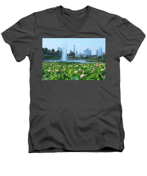 Lotus Blooms And Los Angeles Skyline Men's V-Neck T-Shirt