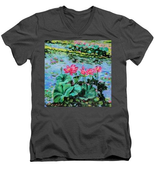 Lotus Men's V-Neck T-Shirt by Alexandra Maria Ethlyn Cheshire