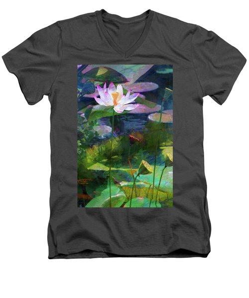 Lotus Men's V-Neck T-Shirt by John Rivera
