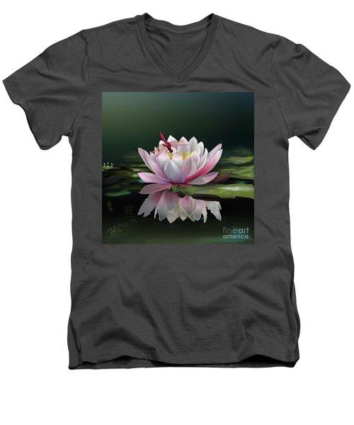 Lotus Meditation Men's V-Neck T-Shirt by Rosa Cobos