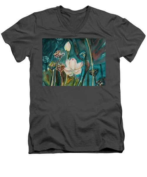 Men's V-Neck T-Shirt featuring the painting Lotus Study I by Xueling Zou