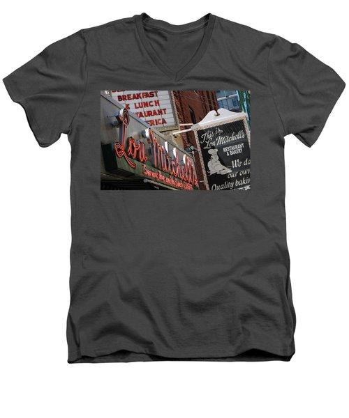 Lou Mitchells Restaurant And Bakery Chicago Men's V-Neck T-Shirt