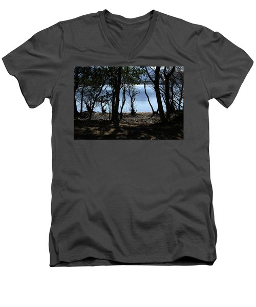 Men's V-Neck T-Shirt featuring the photograph Lough Leane Through The Woods by Aidan Moran